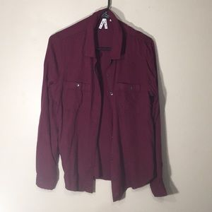 Cute maroon flannel feel button up shirt